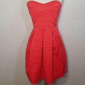 Express Coral Bodice Bandage Fit & Flare Dress S